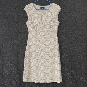 Connected Apparel Sequined Lace Sheath Dress